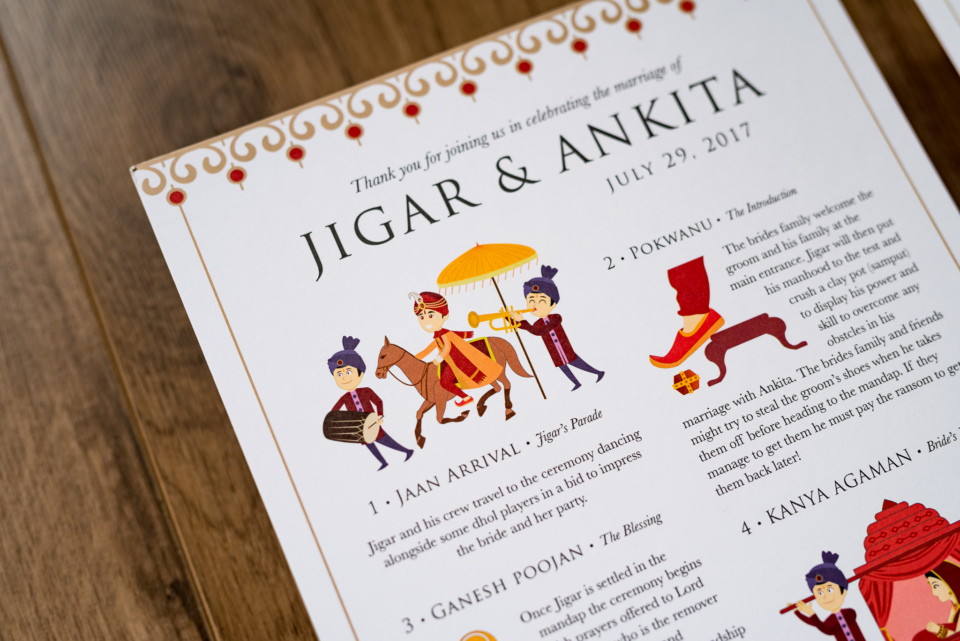 Custom Hindu Wedding Programme By Gingerlime Design 3