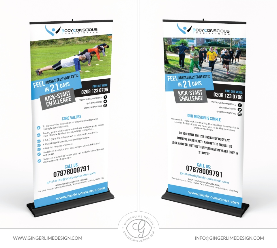 Roller banner design by Gingerlime Design