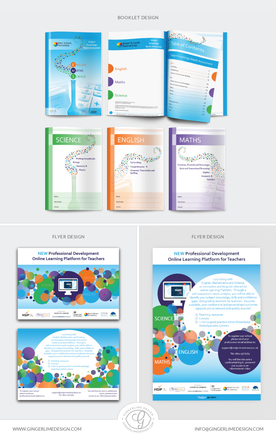 London Schools Excellence Fund Assessment program brochure design by Gingerlime Design