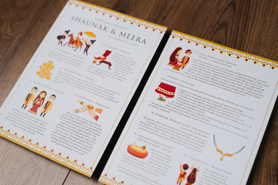 Hindu Wedding Programme by Gingerlime Design