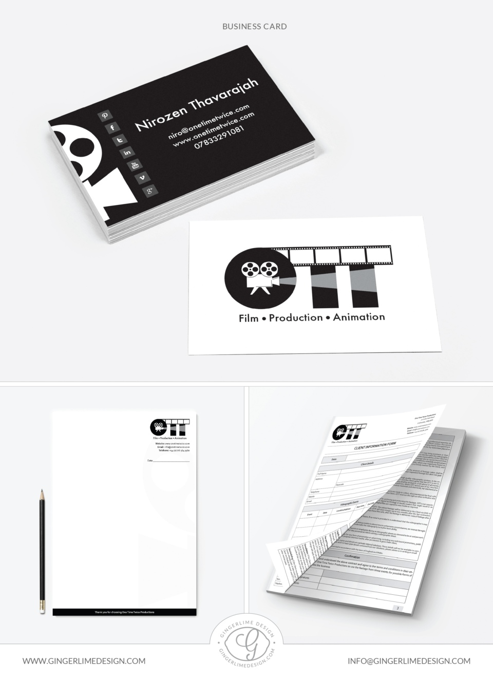One Time Twice Branding Project by Gingerlime Design